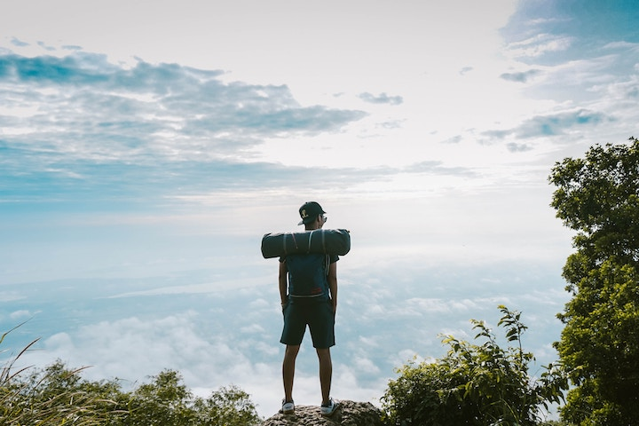 A man standing on mountain